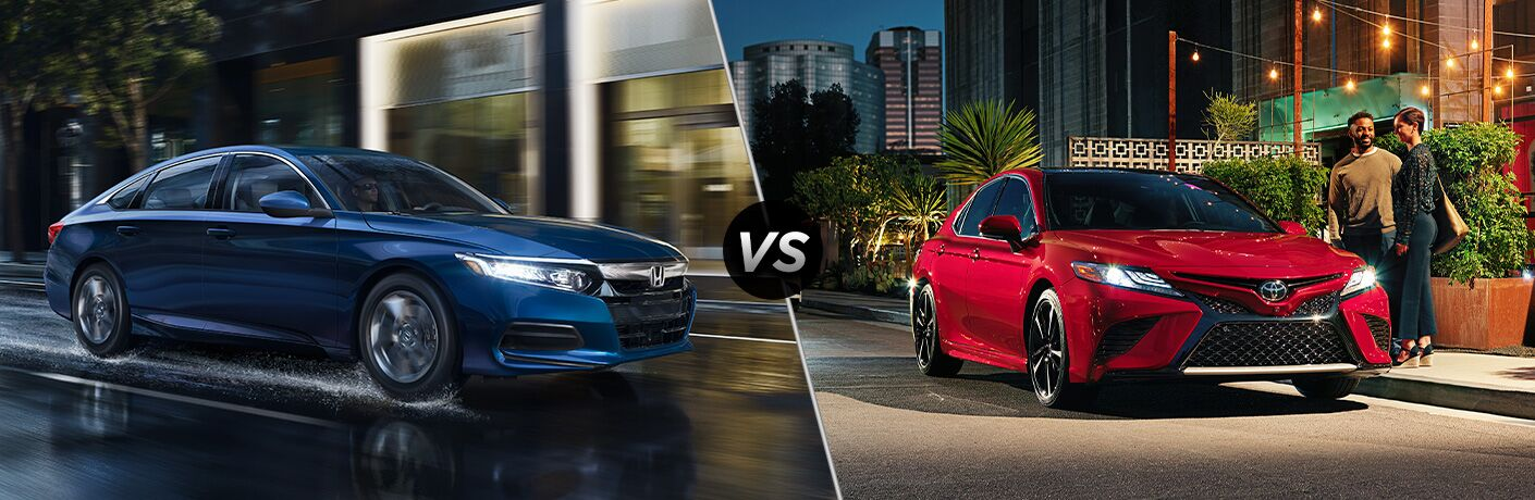Blue 2020 Honda Accord and red 2020 Toyota Camry