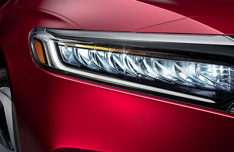 Closeup of headlight on 2020 Honda Accord