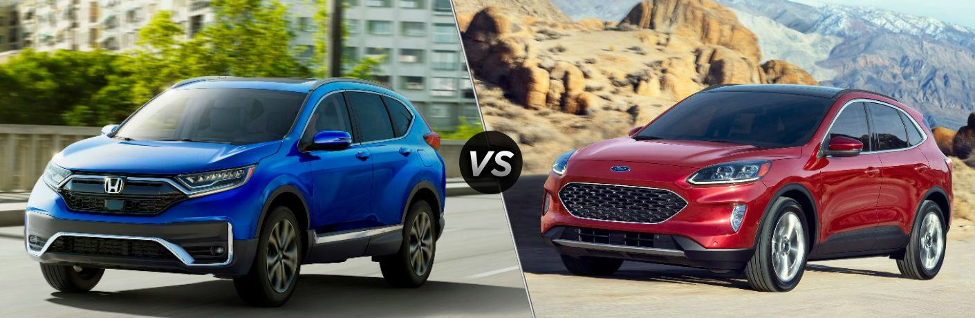 Blue 2020 Honda CR-V and red 2020 Ford Escape
