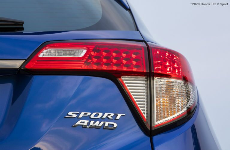 Closeup of taillight on blue 2020 Honda HR-V Sport