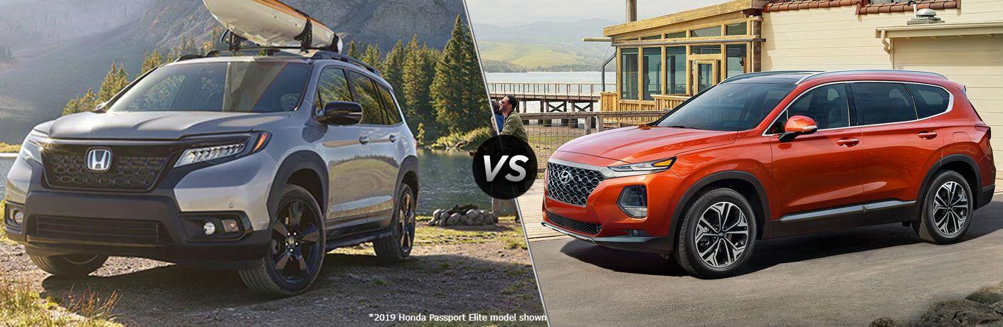 Silver 2019 Honda Passport Elite and orange 2020 Hyundai Santa Fe