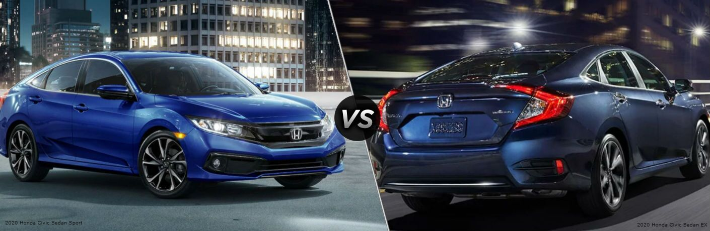 Blue 2020 Honda Civic Sedan Sport and 2020 Honda Civic Sedan EX