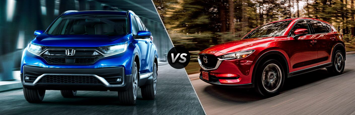 Blue 2020 Honda CR-V and red 2020 Mazda CX-5