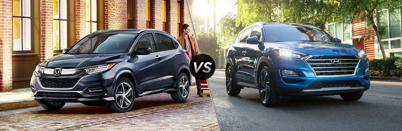 Grey 2020 Honda HR-V and blue 2021 Hyundai Tucson