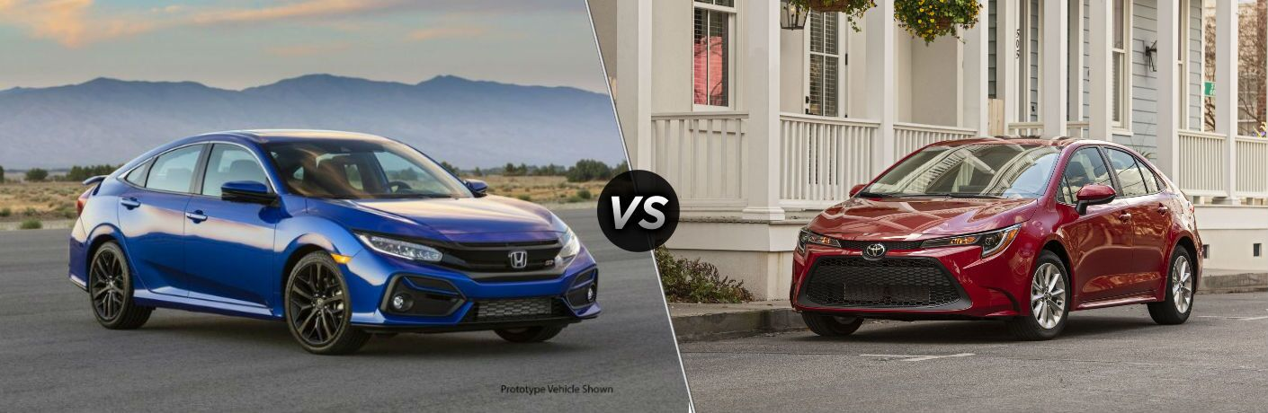 2020 Honda Civic Si sedan exterior front fascia and passenger side in front of mountains vs 2020 Toyota Corolla exterior front fascia and driver side parked on street in front of house