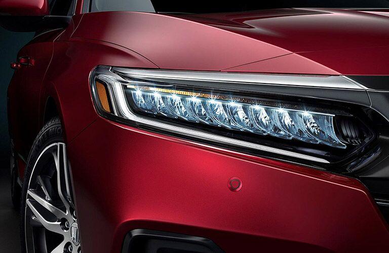 Closeup of headlight on 2021 Honda Accord
