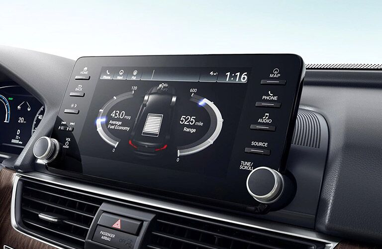 Closeup of infotainment center in 2021 Honda Accord