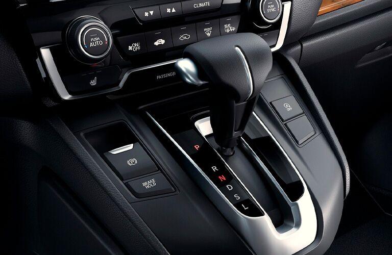 Closeup of gear shift in 2021 Honda CR-V