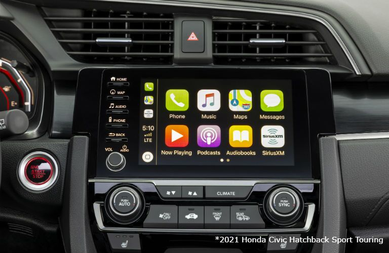 Infotainment system in 2021 Honda Civic Hatchback Sport Touring
