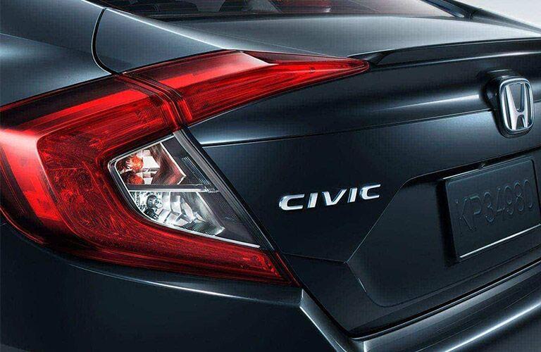 Closeup of rear badge on 2021 Honda Civic