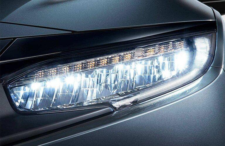 Closeup of headlight on 2021 Honda Civic
