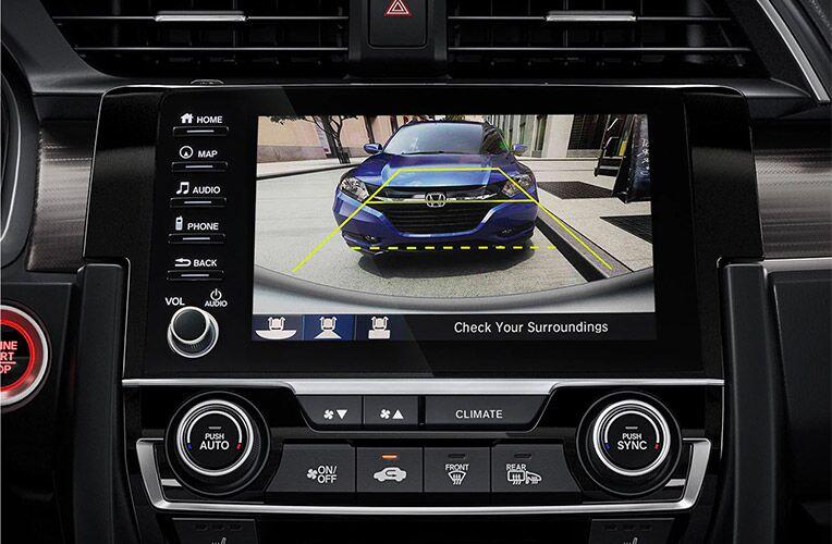 Closeup of backup camera screen in 2021 Honda Civic