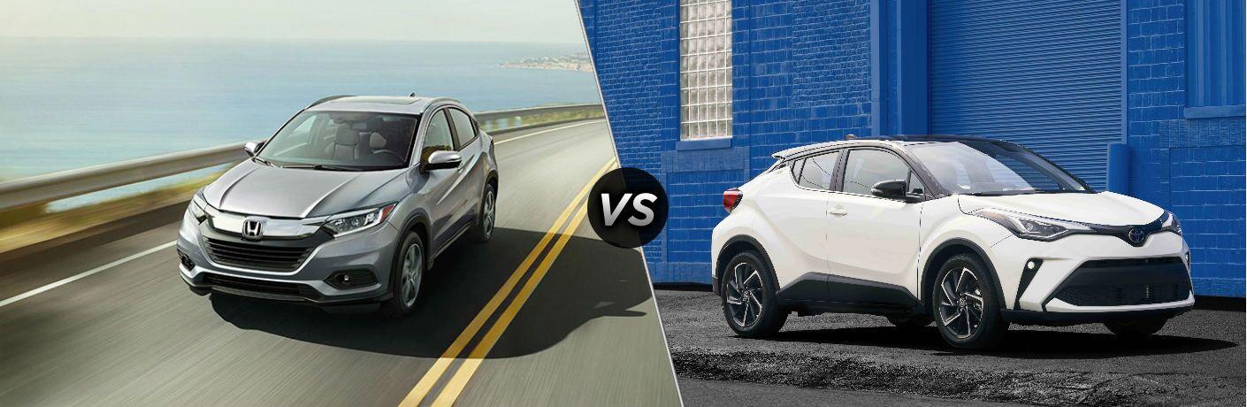 Gray 2021 Honda HR-V and white 2021 Toyota C-HR