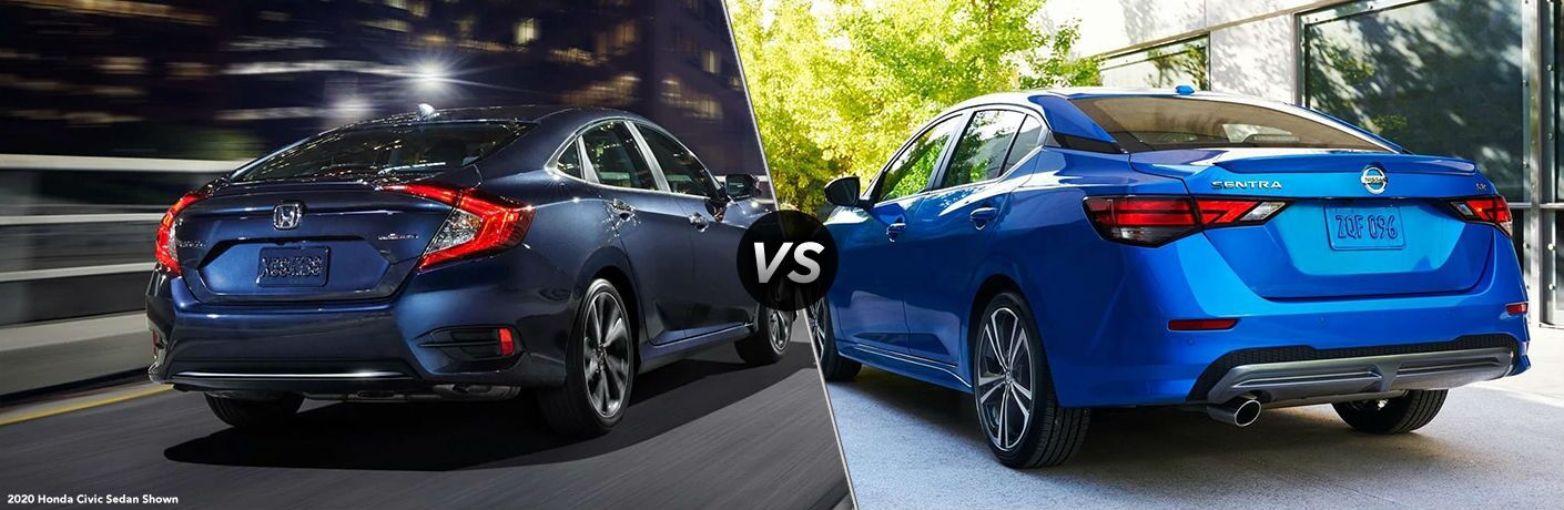 Rear view of blue 2020 Honda Civic and blue 2020 Nissan Sentra
