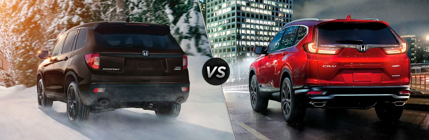 Rear view of brown 2021 Honda Passport and rear view of red 2021 Honda CR-V