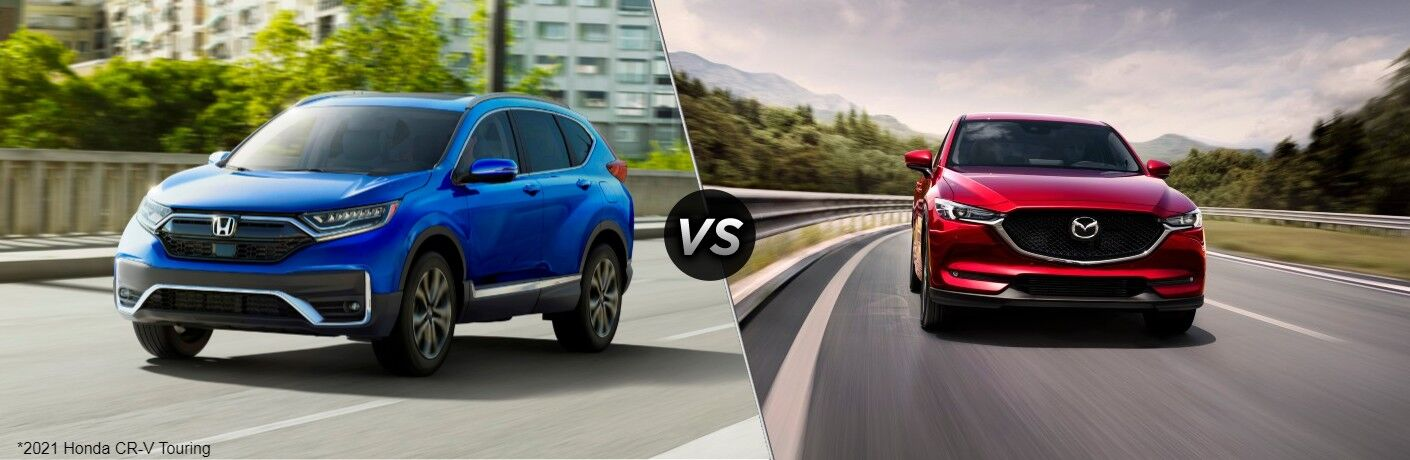 Blue 2021 Honda CR-V Touring and red 2021 Mazda CX-5