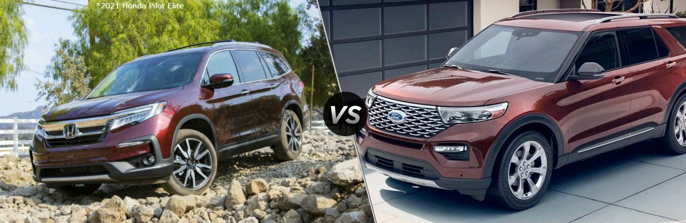Maroon 2021 Honda Pilot Elite and red 2020 Ford Explorer