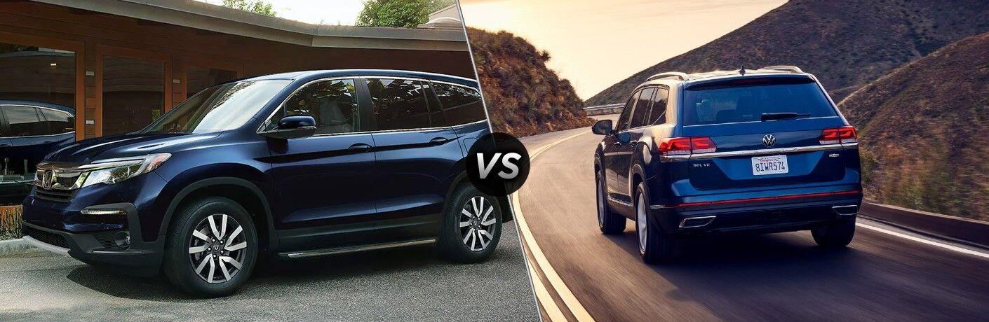 Blue 2021 Honda Pilot and blue 2021 Volkswagen Atlas