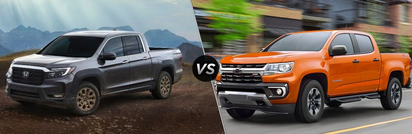 Gray 2021 Honda Ridgeline and orange 2021 Chevrolet Colorado