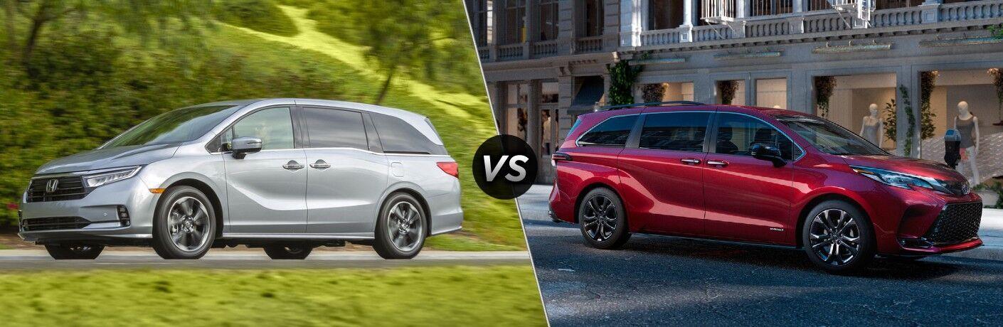 The 2022 Honda Odyssey Lunar Silver Metallic vs the 2021 Toyota Sienna Ruby Flare Pearl