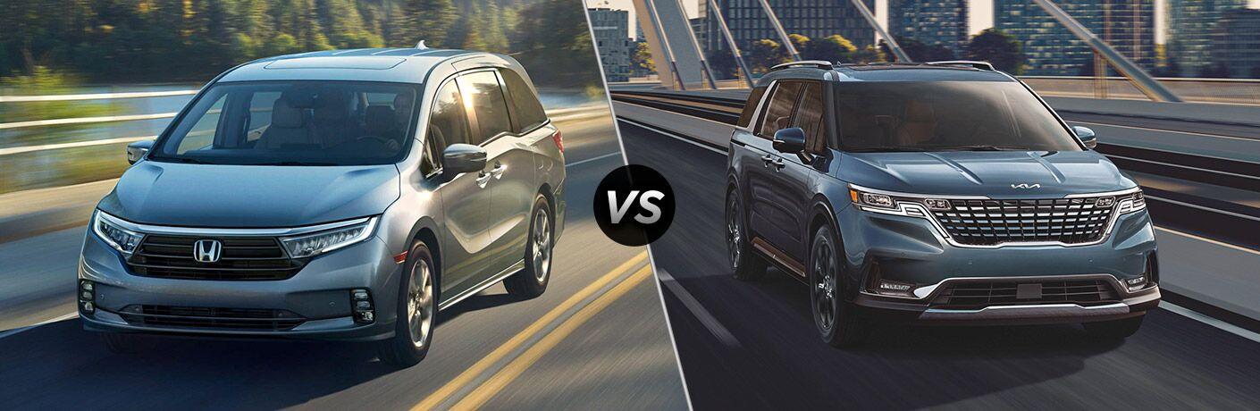 2021 Honda Odyssey vs 2022 Kia Carnival from exterior front