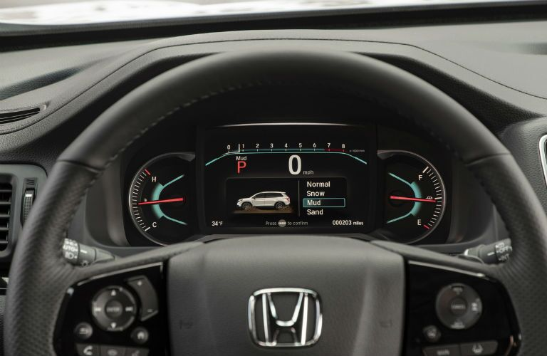 Closeup of steering wheel in 2021 Honda Passport