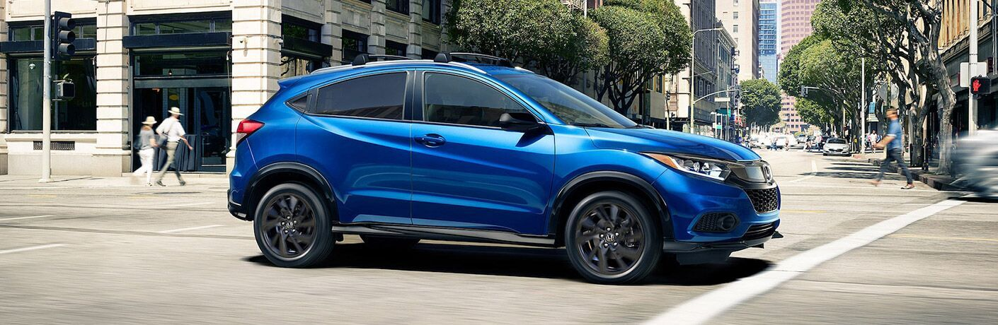 2022 Honda HR-V Aegean Blue Metallic moving on the road