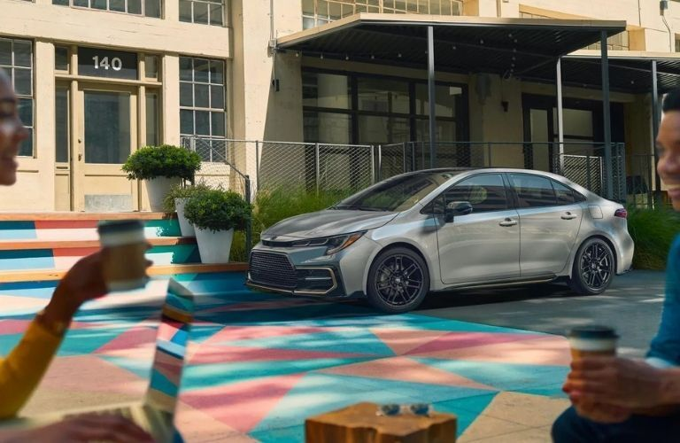 2022 Honda Civic Gray parked outside a building
