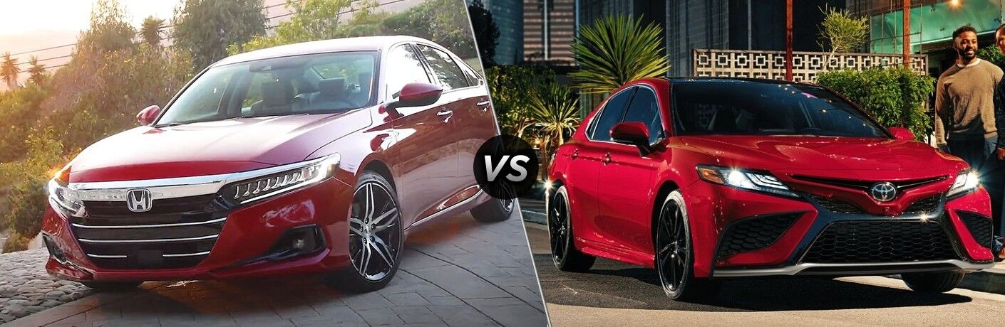 Red 2021 Honda Accord and red 2021 Toyota Camry