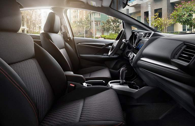 front seats of the 2018 Honda Fit with black upholstery