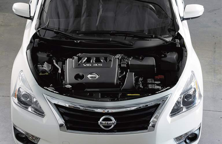 2017 Nissan Altima with its hood up seen from the top