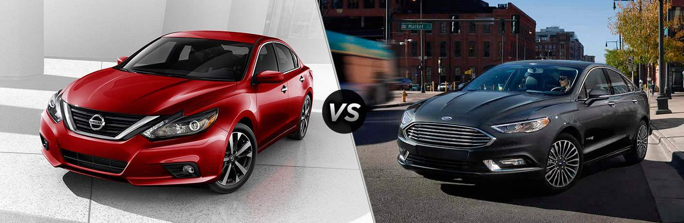 2017 Nissan Altima and 2017 Ford Fusion exteriors