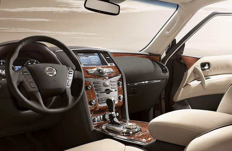 2017 Nissan Armada steering wheel and dashboard