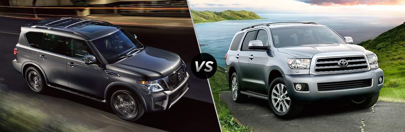 2017 Nissan Armada and 2017 Toyota Sequoia exteriors