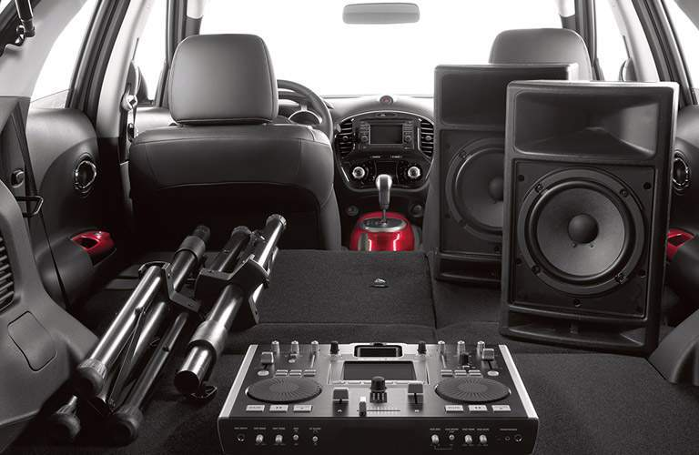 speakers and DJ equipment inside cargo area of 2017 Nissan Juke