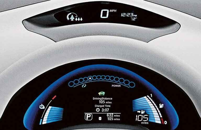 2017 Nissan Leaf interior instrument cluster closeup