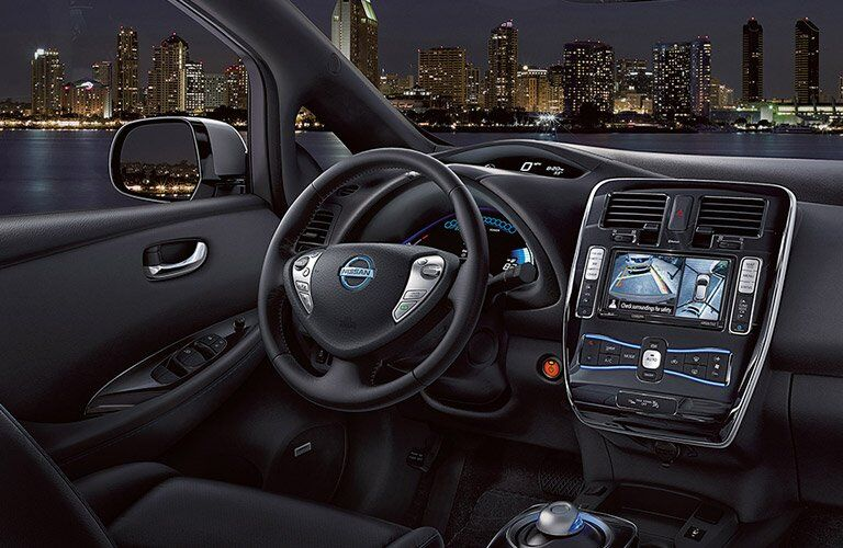 2017 Nissan Leaf interior steering wheel and dashboard