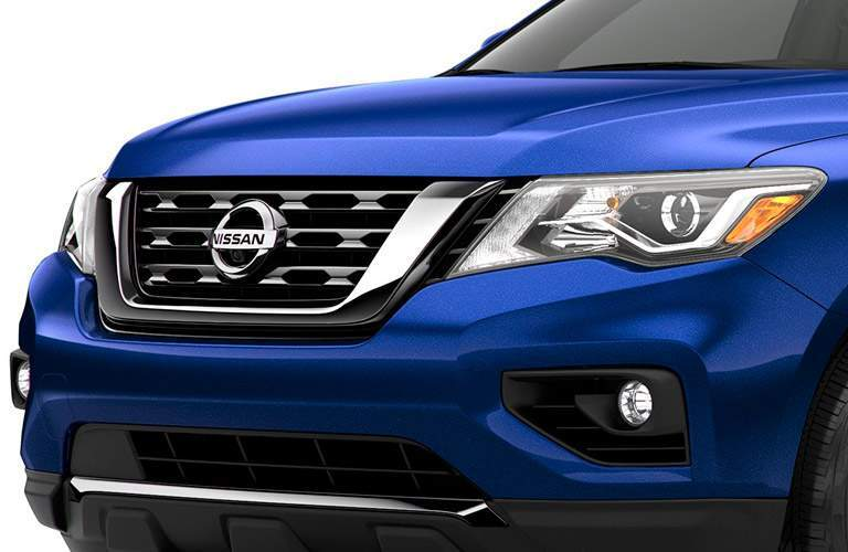 blue 2017 Nissan Pathfinder front grille closeup