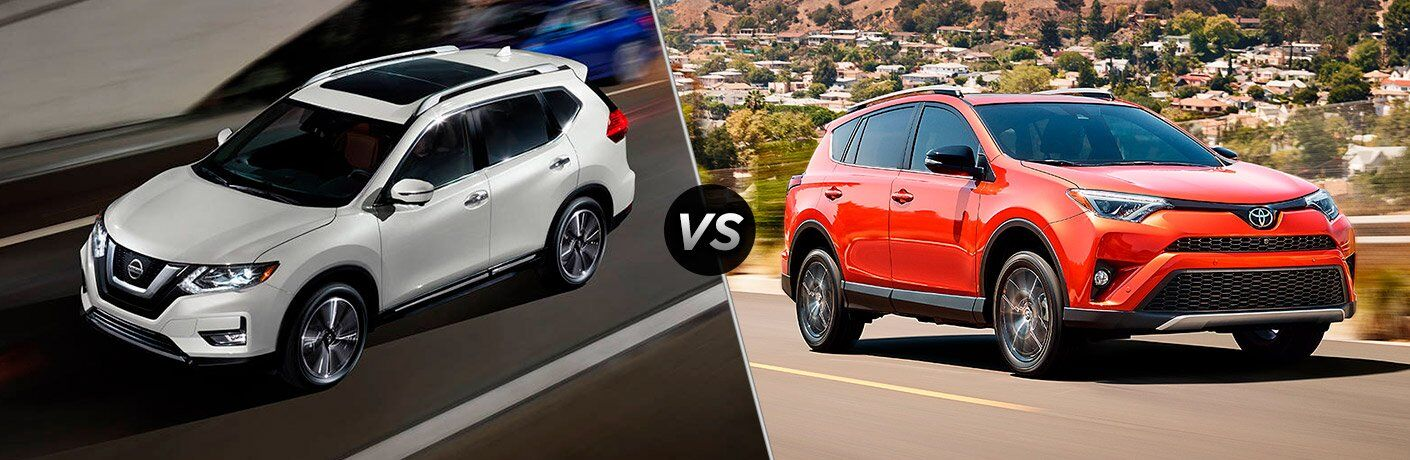 2017 Nissan Rogue and 2017 Toyota RAV4 exterior front views