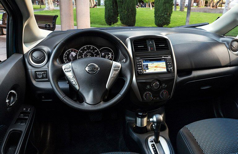 2017 Nissan Versa Note interior steering wheel and dashboard