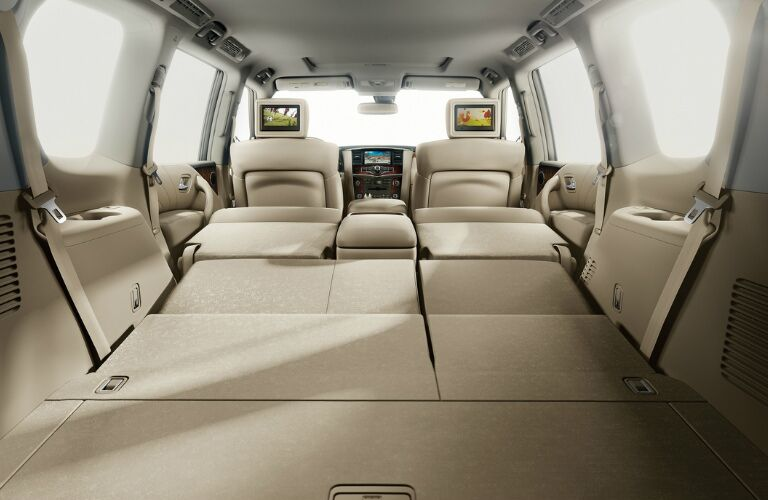 2017 Nissan Armada interior cargo area with rear seats folded down