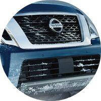 blue 2017 Nissan Armada front grille closeup