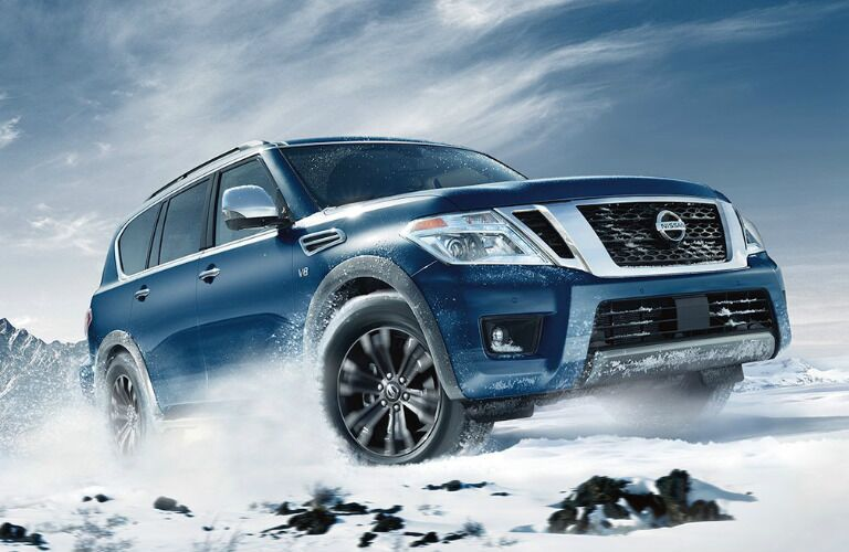 2017 Nissan Armada driving through snow