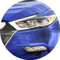 blue 2017 Nissan Maxima front headlight closeup