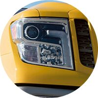 yellow 2017 Nissan Titan XD headlight