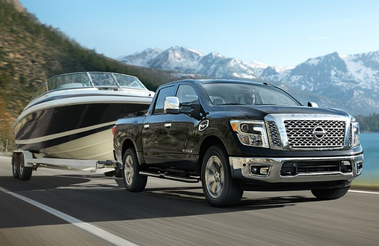 2017 Nissan Titan towing a boat