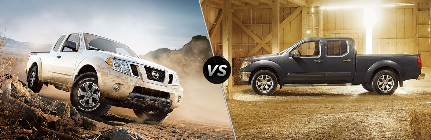 Comparison image of a silver 2018 Nissan Frontier and a gray 2017 Nissan Frontier