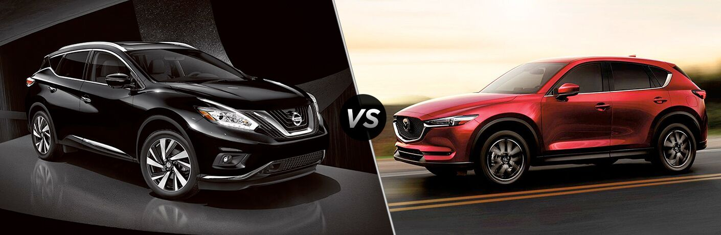 Comparison image of a black 2018 Nissan Murano and a red 2018 Mazda CX-5