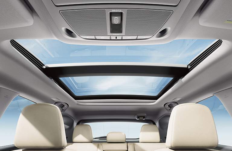Interior view of the panoramic sunroof of a 2018 Nissan Murano