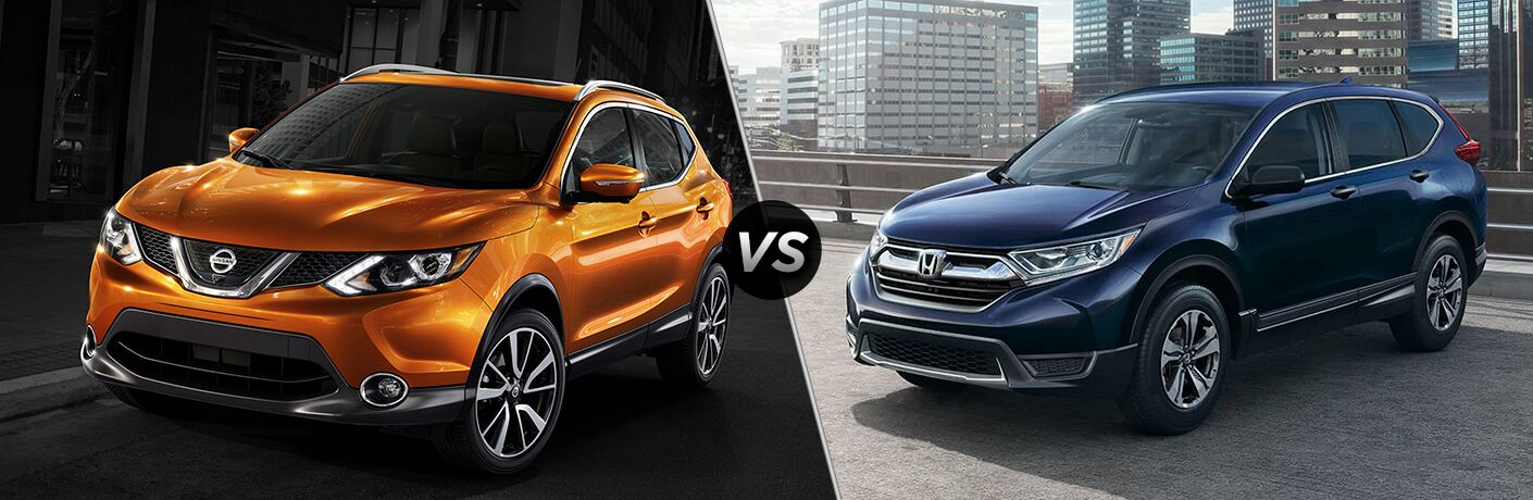 Nissan Rogue Sport and Honda CR-V side by side